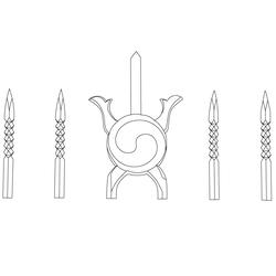 수원화성행궁 홍살문 세로살대 - 원시문양