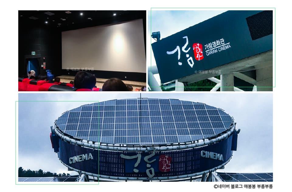 시계방향으로 삼척가람영화관 내외부 모습, 이미지 출처 네이버 블로그 애봉봉 부릉부릉