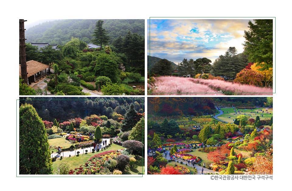 시계방향으로 가평 아침고요수목원 풍경 이미지 출처 한국관광공사 대한민국 구석구석