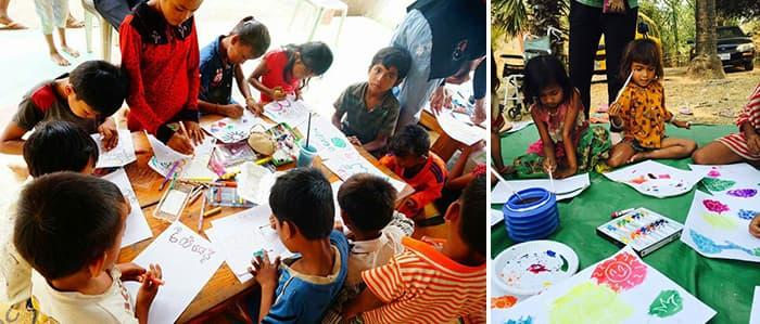 그림을 그리는 캄보디아 아이들의 모습 ⓒ 딜럽
